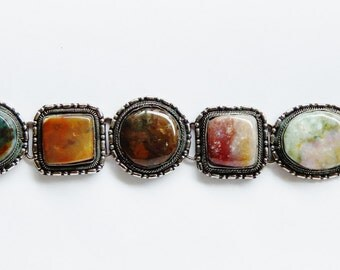 Autumn Sterling Silver Bracelet With 5 Large Stones - Warm Colors - Beautiful Design Artisan Made