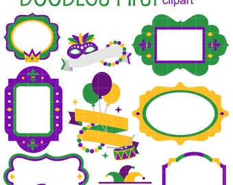 Mardi Gras Frames and Ribbons Digital Clip Art for Scrapbooking Card Making Cupcake Toppers Paper Crafts