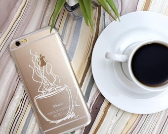 Coffee Phone Case, White Coffee Mug, Clear iPhone 7 Case with Print, iPhone 6s Case, Samsung Galaxy S7 Case, S6 Edge, Coffee Lovers Gifts