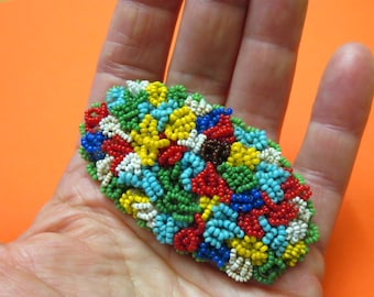 Antique 1920 Czechoslovakia Seed Bead Large Brooch Pin
