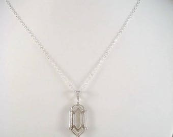 Clear Crystal Heart Necklace Victorian Inspired