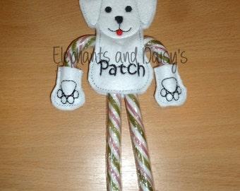 Candy Cane Santa Dog Embroidery design file