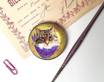 Large Cat Magnet , Cat Refrigerator Magnet, Cat Fridge Magnet, Cute Cat Magnet, Cat Face Magnet, 2 Inch Round, Cat Lover
