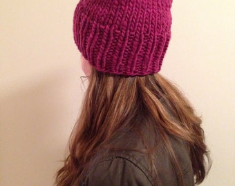 READY TO SHIP Raspberry pink pussy hat 100% usa made wool soft and warm knit chunky hand knit