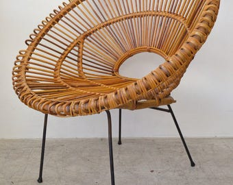 Rattan and Iron Hoop Chair Attributed to Janine Abraham and Dirk Jan Rol