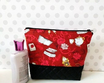 Beauty and the Beast Friends Large Makeup Pouch / RED
