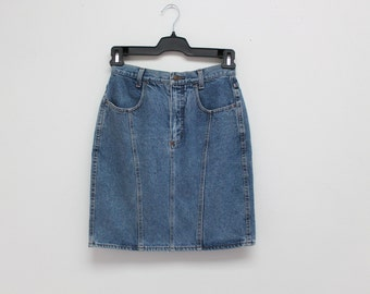 80's High Waisted Classic Retro Denim Skirt