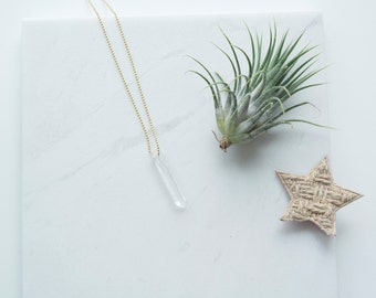 Long necklace with crystal point, crystal point necklace