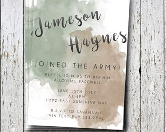 Army going away party Invitation