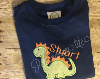 Dinosaur Shirt,Appliqued Dinosaur Shirt,Personalized Dinosaur Shirt,Boys Shirt.Personalized Shirt, Dinosaur boys shirt, Boys Dinosaur shirt,