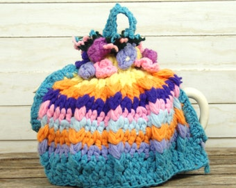 Vintage Tea Cosy, Hand Crocheted Tea Cosy With Crocheted Flowers. Blues, Orange, Yellow and Pink. Large Tea Cosy. 1960's - 70's