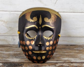 Vintage Brass Mask, Brass Wall Hanging, Small Painted Mask, Carnival Mask Home Decor from 1960's