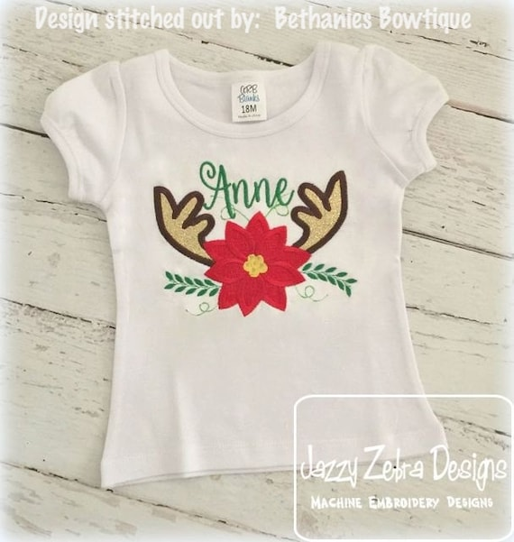 Antlers and poinsettia Appliqué embroidery design - Poinsettia appliqué design - Antlers Appliqué Design - Christmas Appliqué Design