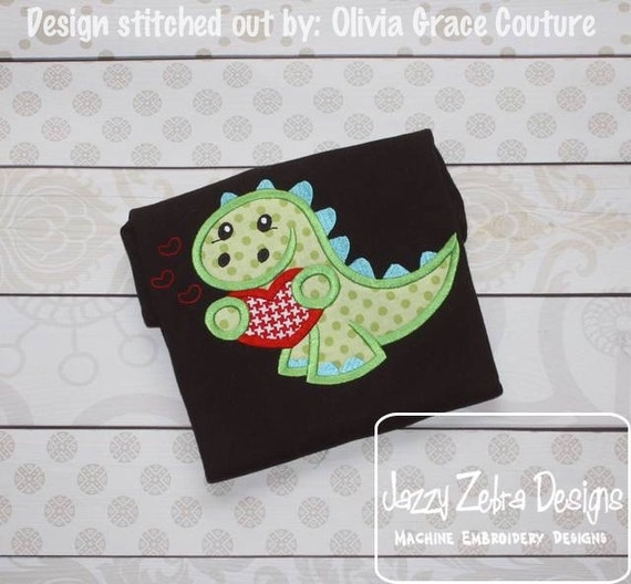 Dinosaur Valentine Applique Embroidery Design - Valentines day appliqué design - Valentine appliqué design - Dino appliqué design