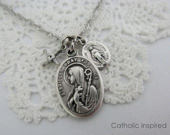 St Bridget Necklace - Crooked Woven Cross Miraculous Medal - Stainless Steel Chain - Irish Ireland Confirmation Catholic