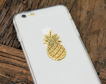 Pineapple iPhone 6 Case Pattern Fruity Tropical Boho Cell Phone Chich Trendy 24kt Gold on Clear Case with Hard Bumper iPhone 6s