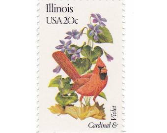 1982 20c State Bird and Flower Series - Illinois - Cardinal & Violet - 10 Unused Vintage Postage Stamps -  Item No. 1965