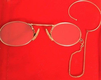Antique pince nez, antique eyeglasses, antique spectacles, vintage pince nez, gold rimmed pince nez, pince nez glasses, gold filled, astig