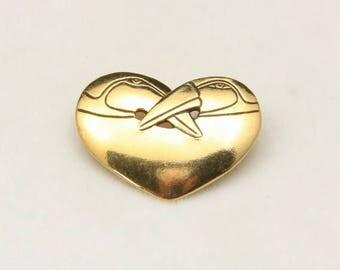 Vintage Laurel Burch Gold Double Bird Heart Pin Brooch