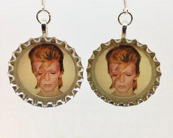 David Bowie Jewelry - Aladdin Sane Bottle Cap Earrings - Ziggy Stardust - Lightening Bolt- Nickel Free - .925 Silver Ear Hooks