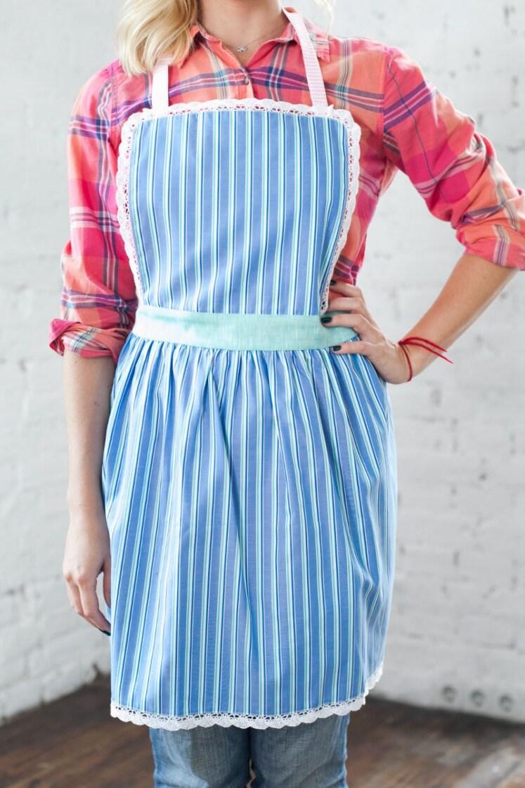 Cute Kitchen Apron/ Womens Pinny/ Stripy Blue Ladies Apron/ Cooking ...