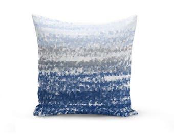 Throw Pillow Cover, Navy Blue White Grey (A23) Decorative Pillow Cover Euro Sham Cover