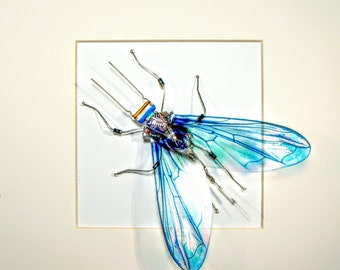Electrickery, Insect wall art, Framed Art, Recycled circuit board bug, Spread your wings and fly, Engineer Gift, Art sculpture, Geek gift.