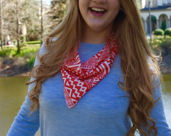 Women's Red and White Print Bandana Scarf - Women's Red and White Scarf - Red Bandana - Red Infinity Scarf - Women's Scarf - Red Scarf
