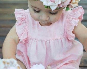Blush Pink, Ivory & Gold Flower Crown - Cake Smash Flower Crown - Photo Prop - Flower Girl Crown- Blush Hair Wreath - Pink Baby Flower Crown