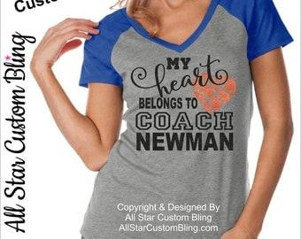 My Heart Belongs To The Basketball Coach Shirt,My Heart Belongs To The Coach Shirt,Custom Heart Basketball Coach Shirt,Basketball Coach Wife