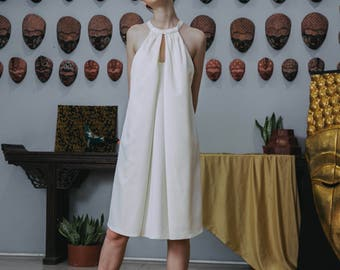 Classic 60s Collection white/golden yellow satin goddess dress