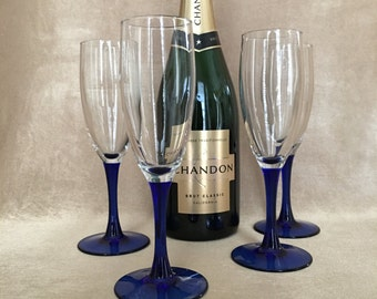 Champagne Flutes, Cobalt Blue Stems, Luminarc France, French Stemware, Deep Blue Color, Wedding Toasting, Champagne Glasses, Vintage Barware