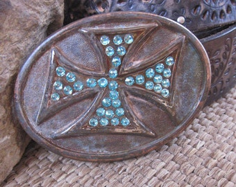 cross belt buckle patina copper belt buckle women's belt buckle turquoise crystal belt buckle bohemian large southwestern mens belt buckle