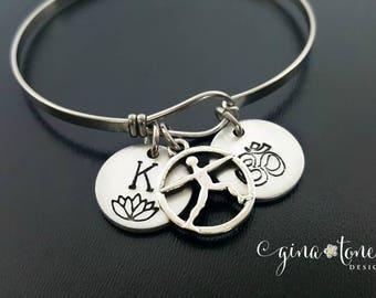 Yoga Bracelet, Om Bracelet, Yoga Jewelry, Lotus Charm, Ohm Pendant, Om Charm, Personalized Yoga Bracelet, Ohm Jewelry, Lotus Flower Bracelet