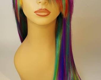 Mid-Length A-symmetrical, Straight Rainbow Wig with Long Bangs, Rainbow Wig, Straight Rainbow Wig, Long Rainbow Wig, Rainbow Wig