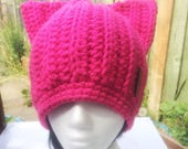Pink Pussy hat Adult Pink cat hat Feminist Hat cat Ears Hat Pink Pussy hat Crochet Pussy Cat Hat Womens marching hat Womens right hat