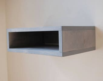 Floating Nightstand Wall Shelf made from Reclaimed Wood- Gray