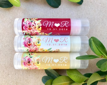 Bridal Shower Chapstick Favors 24ct Floral Wedding Lip Balm Favors, Bridal Shower Favor, Lip Balm Favor, Wedding Anniversary Favor RC2010