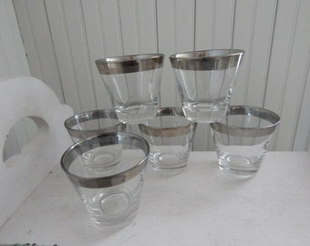 Mid Century Barware High Ball Glasses - Set of Six Vintage Bar Glasses - Dorothy Thorpe Style Glasses with Wide Silver Band - 1960s Barware
