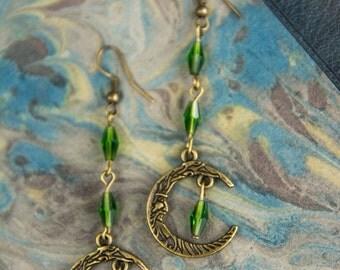 Green Moon Earrings