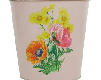 Vintage J. V. Reed & Co. Pink Floral Bouquet Metal Oval Trash Can, Waste Garbage Can Basket, Retro Home Decor, Shabby Chic Bathroom