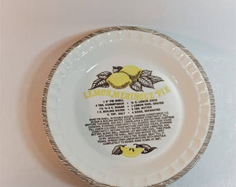Vintage Ceramic Lemon Meringue Pie Plate Recipe