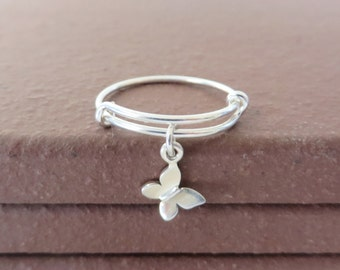 Bangle Ring Expandable Sterling Silver Butterfly Ring