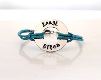 Your Word Personalized Custom Made Hand Stamped Bracelet or Anklet YOU Select Your Word and Cord Color