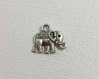 Elephant Charms x 6 Silver Pendant Circus Zoo Pachyderm Jewellery #244