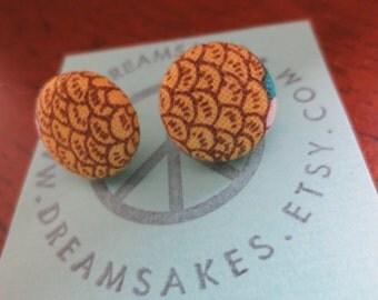 "Yellow ""Fish Scale"" Fabric Earrings"