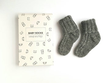 Pure Cashmere baby socks, 0-3months, grey,seam free,