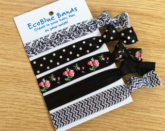 5 hair elastics, soft stretch hair ties, ponies, yoga hair ties, bracelets, ponytail holders - Monochrome mix