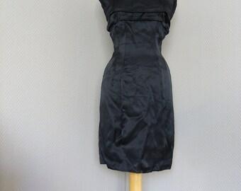 50s Vixen Vintage Black Satin Dress