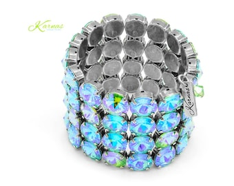 GREEN With ENVY 12mm Crystal Statement Stretch Bracelet Made With Swarovski Crystal *Pick Your Finish *Karnas Design Studio *Free Shipping
